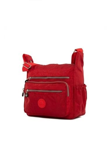 Bagmori Kadın Çok Cepli Büyük Paraşüt Çanta M000004068 Kırmızı